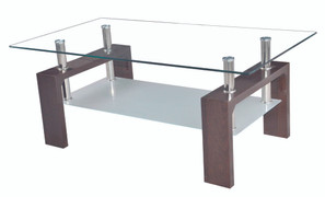 Frankfurt Walnut Coffee Table  Walnut and Glass  W100cm X D60cm X H45cm