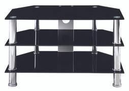 Berlin Large TV Stand  Black Glass   W100cm X D45cm X H48cm