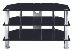 Berlin Small TV Stand  Black Glass   W80cm X D45cm X H48cm