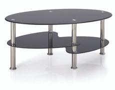 Berlin Black Coffee Table  Black Glass  W100cm X D60cm X H42cm