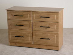 Mya Oak 6 Drawer Long Chest The natural beauty of oak is combined  with a stylish chrome with a black bar handel