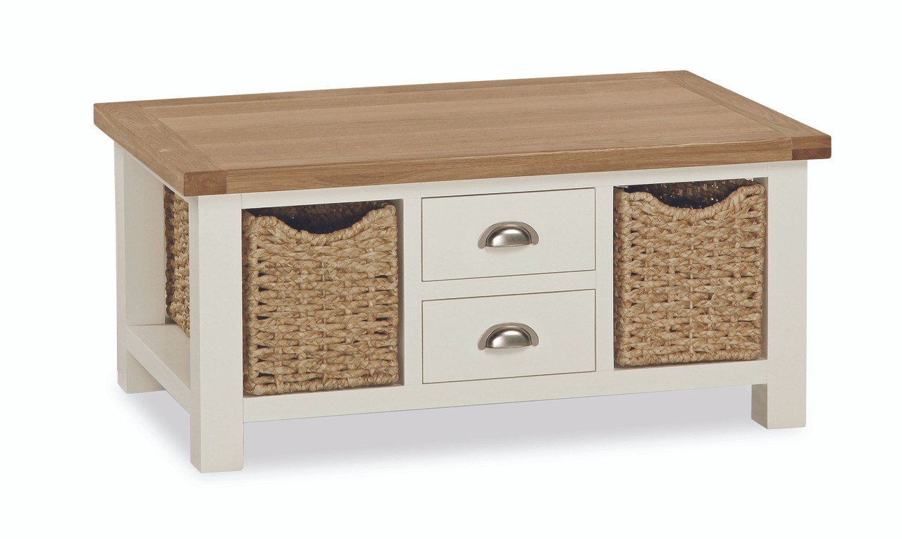 - Suffolk Oak Large Coffee Table With Baskets - Ideal Furniture