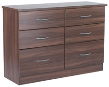 Noche Walnut 6 Drawer Midi Chest walnut bedroom furniture is the ideal choice. With its rich dark wood walnut can transform the room into a luxurious pad.