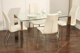 Kansas Dining Set Table with 4 Kansas white Dining Chairs  Modern Glass Dining set with comfy Contemporary Dining Chairs  all pieces finished with chrome legs for a clean,simple look.  Table W140cm X D80cm X H75cm  Chair W44cm X D60cm X H95cm