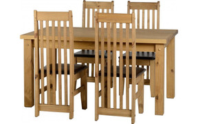 """Tortilla 4'9"""" Dining Set with Espresso Brown PU Chairs"""