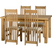 """Tortilla 4'9"""" Dining Set with Cream PU Chairs"""