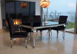 Louis Dining Table (160cm)-Black