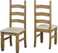 Corona Dining Chair with Cream PU Per 2