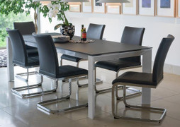 Mobo Medium Extending Dining Table With 6 Mobo Dining Chairs -Grey Table