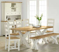 Suffolk Oak Cross Dining Table Set With 5 Chairs and Bench