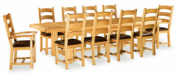 Imperial Oak Large Extending Dining Set with 8 Chairs and 2 Armchairs