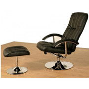 Lexus TV Chair & Stool-Black Faux Leather