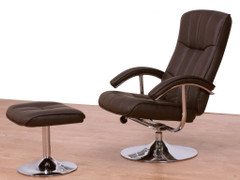 Lexus TV Chair & Stool-Brown Faux Leather