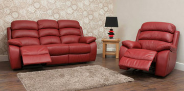 Picasso 3 Seater Recliner-Red+ 2 Picasso 1 Seater Recliners-Red