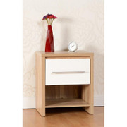 Seville 1 Drawer Bedside Chest-Light Oak Veneer.