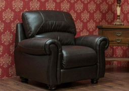 Cambridge Half Leather 1 Seater Fixed-Chestnut (Not Pictured)