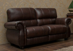 ASCOT DARK BROWN - HALF LEATHER 2 SEATER