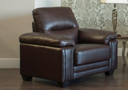 BAKER CHESTNUT - HALF LEATHER 1 SEATER FIXED