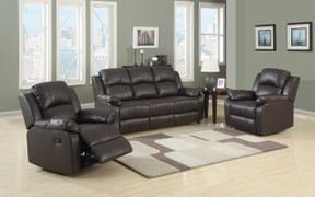 Fantastic value and quality - the Katie range is a luxury eco leather with its deep back and seated cushions. The reclining chair offers comfort and luxury as standard. Available in Black, Chocolate Brown and wine