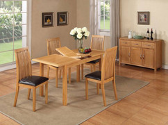 Hartford City Oak 4' extension Set With 4 Dining chairs