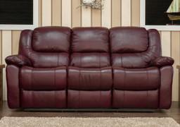 Harvey Full Leather 3 Seater Fixed-Wine