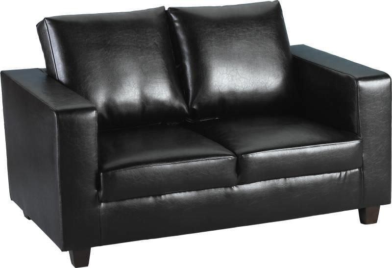 Tempo Two-Seater Leather Sofa-Black