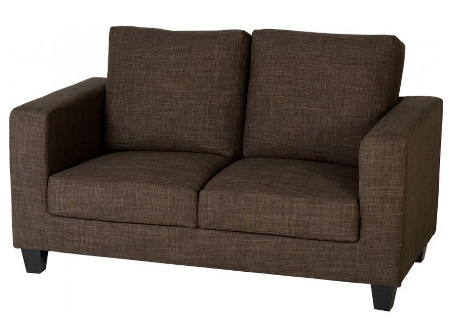 Tempo Two-Seater Fabric Sofa-Dark Brown
