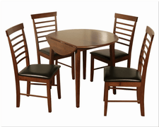 Hanover Dark Round Drop Leaf Dining Set With 4 Chairs