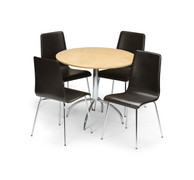 Mandy Maple Table With 4 Black Leather Chairs