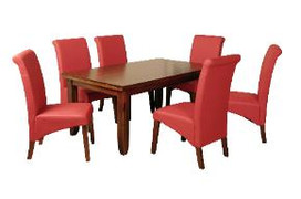 Roscrea 5' Dining Set [Fixed Top] With Red Grace Chairs