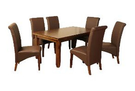 Roscrea 5' Dining Set [Fixed Top] With Brown Grace Chairs