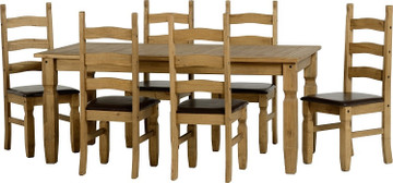 Corona Fixed Dining Set- 6 Brown PU chairs