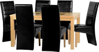 Wexford 59'' Dining Set with G5 Black PU Chairs