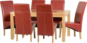 Wexford 59'' Dining Set with G1 Rustic Red PU Chairs