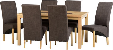 Wexford 59'' Dining Set with G1 Dark Brown Fabric Chairs