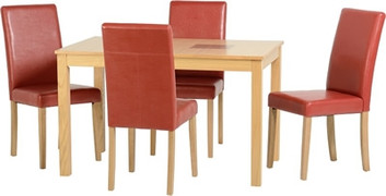 Wexford 47'' Dining Set with Rustic Red PU G3 Chairs