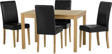 Oakmere Dining Set with Black PU G3 Chairs