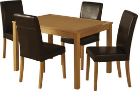 Oakmere Dining Set with Espresso Brown PU G3 Chairs