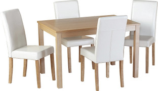 Oakmere Dining Set with Cream PU G3 Chairs
