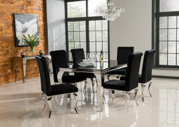 Louis Dining Set with 6 Dining Chairs(160 cm)-Black