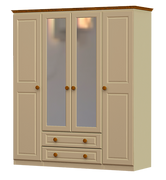 Annagh Ivory 4 Door 2 Drawer 2 Mirror Wardrobe