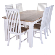 MEDINA 6FT DINING SET with 6 CHAIRS  Medina Range  This solid acacia collection is simply beautiful and well proportioned. With a washed oak top that brings and element of style and versatility. Truly modern  in colour yet slightly classic in design.  A distinguished and striking selection of furniture that will harmonise any home.  Available in dining and occasional.