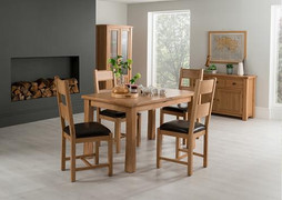Breeze Dining Table(120/160 cm) & 4 Breeze Chairs-Solid Seat