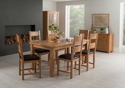 Breeze Dining Table With 6 Dining Chairs- Brown Seat (140 cm)