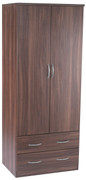 Noche Walnut Plain 2 Drawer Wardrobe