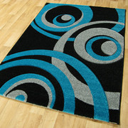 Vibe Collection-Black/Teal 2518 (120 x 170cm)
