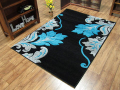 Vibe Collection-Black/Teal 2527 (160 x 220cm)