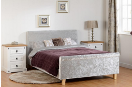 Shelby 4'6 Sleigh Bed-Grey Crushed Velvet