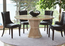 Marcello Round Dining Set & 4 Dining Chairs(130 cm)