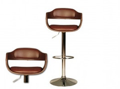 Anna Brown Chrome Plated Brown Faux Leather Seat Pad Gas Lift Stool